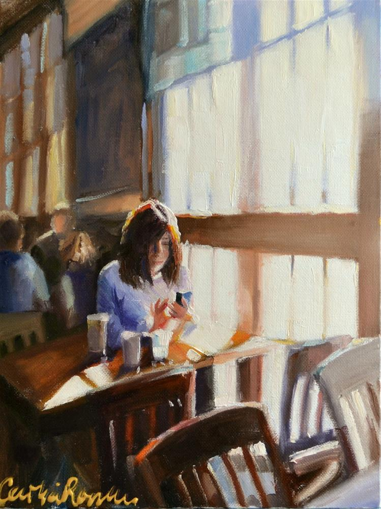 """""""EARLY MORNING AT STARBUCKS"""" original fine art by Cecilia Rosslee"""