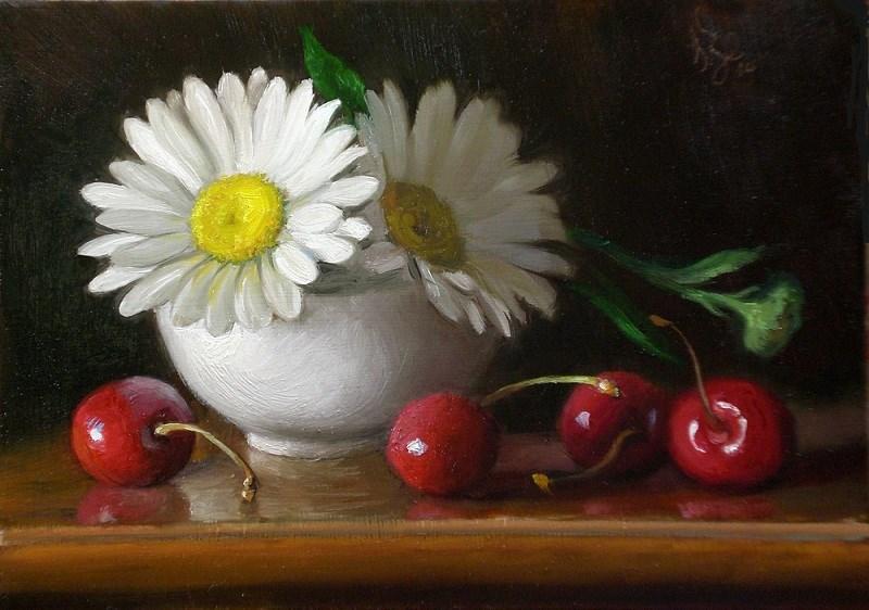"""Cherries and Daisies"" original fine art by Debra Becks Cooper"