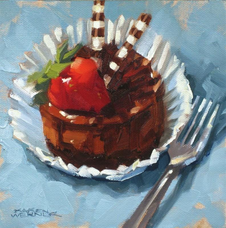 """""""Chocolate Cheesecake"""" original fine art by Karen Werner"""