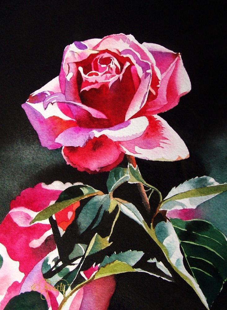 """""""Pink Rose Garden"""" original fine art by Jacqueline Gnott, TWSA, WHS"""
