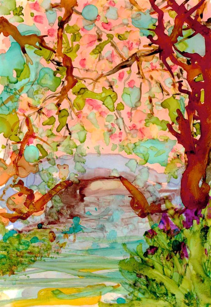 """""""Japanese Garden 1"""" original fine art by Kelly Alge"""
