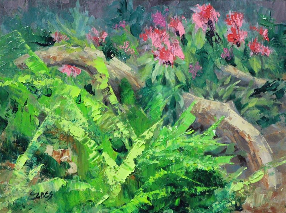 """Flamingo Plants"" original fine art by Linda Eades Blackburn"