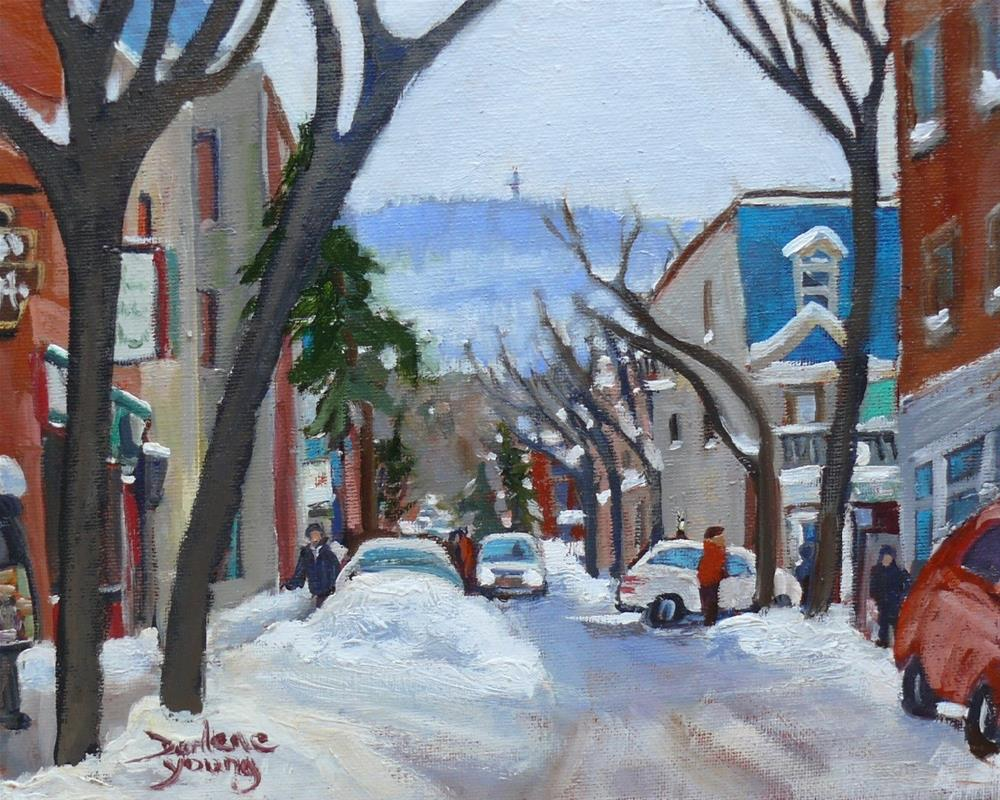 """A Warm Winter Day, Le Plateau Mont Royal, 8x10 oil on board"" original fine art by Darlene Young"