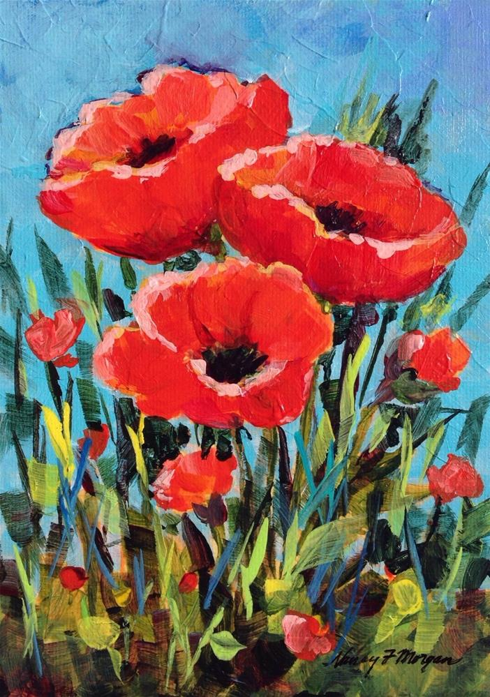 """Poppy Time"" original fine art by Nancy F. Morgan"
