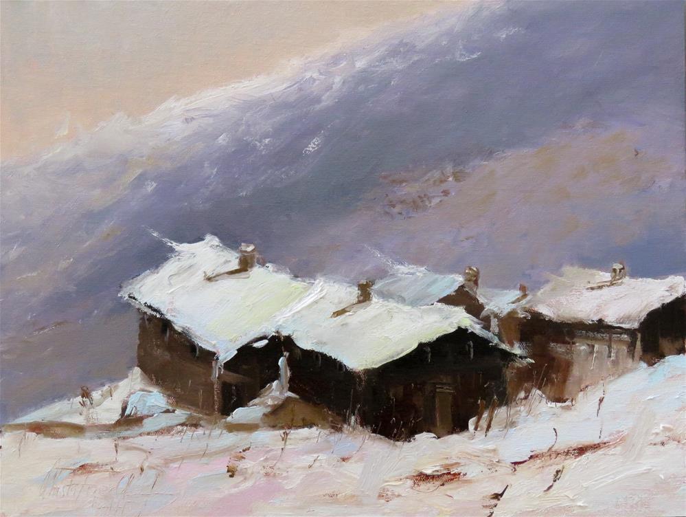 """""""snowbound in the alps"""" original fine art by Christa Friedl"""