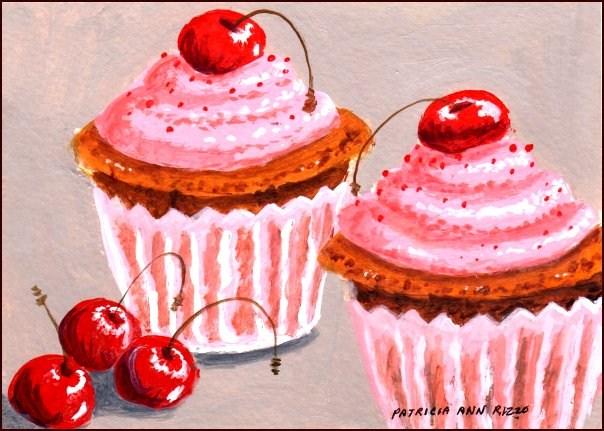 """Two Cherry Cupcakes"" original fine art by Patricia Ann Rizzo"