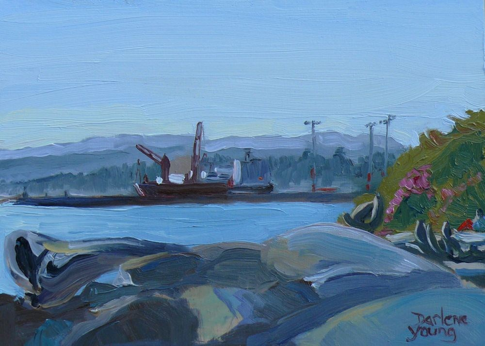 """Ogden Point Scene, oil on board, 8x6"" original fine art by Darlene Young"
