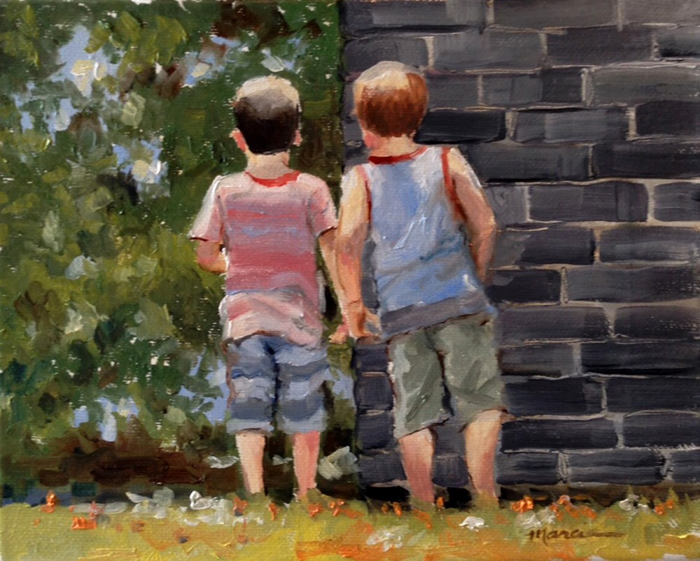"""Cousins and Snakes - NFS"" original fine art by Marcia Hodges"