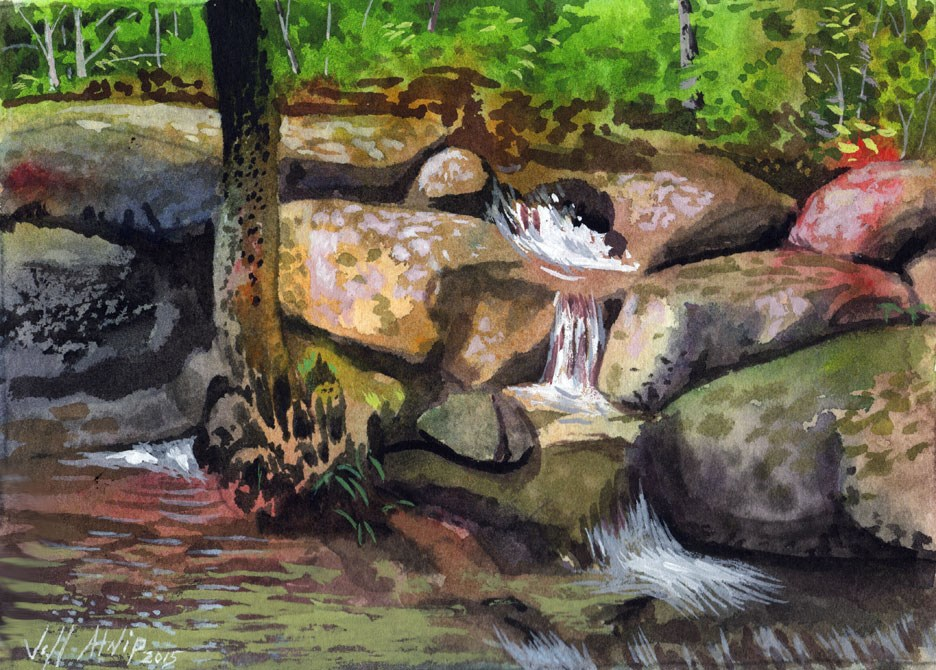 """Collins Creek Falls"" original fine art by Jeff Atnip"