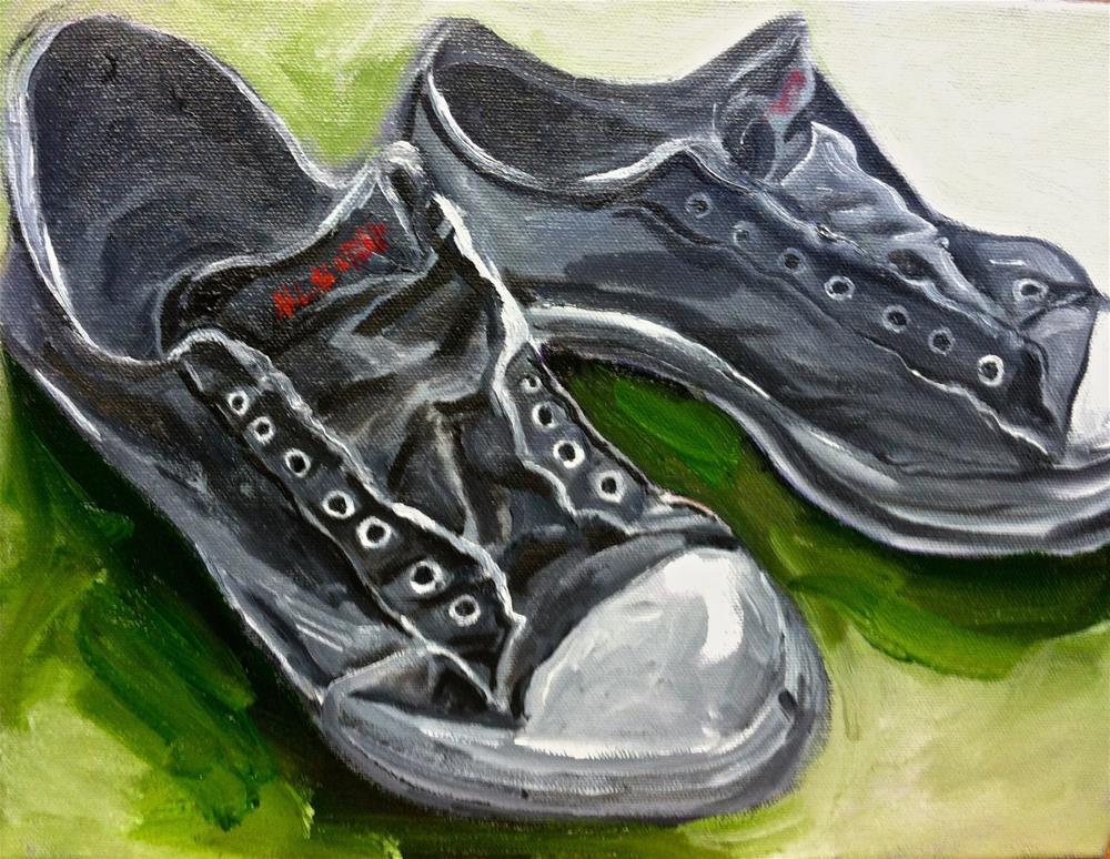 """""""Grey Sneekers  12 x 9 oil"""" original fine art by Nancy Levinson"""