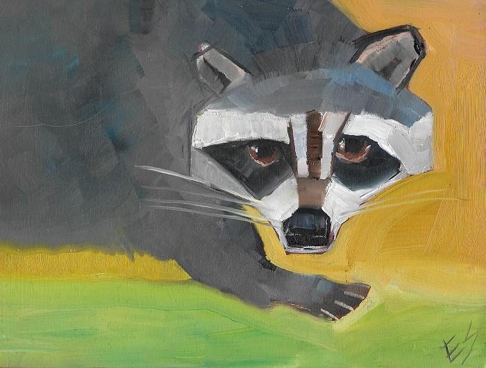 """""""Racoon"""" original fine art by Elizabeth See"""