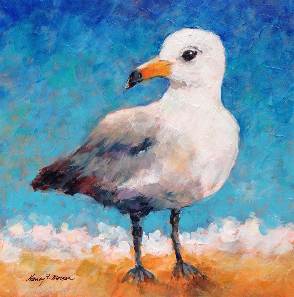 """Watchful Gull"" original fine art by Nancy F. Morgan"