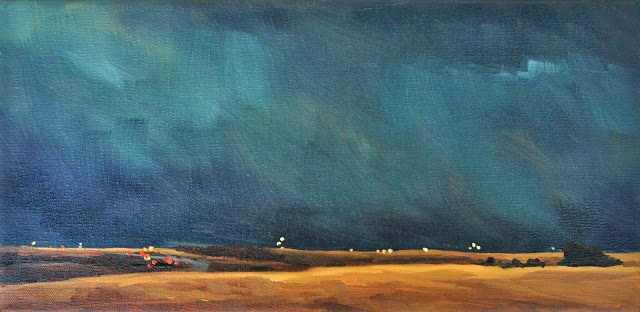 """Thunderstorm and a Highway - 6x12"" original fine art by Sharon Schock"