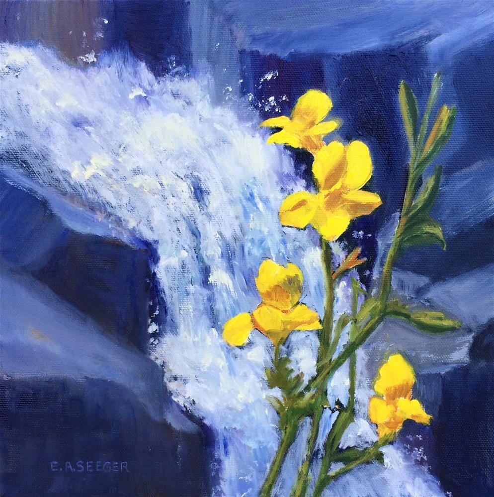 """Yellow Monkey Flower by the Stream"" original fine art by Elisabeth Seeger"