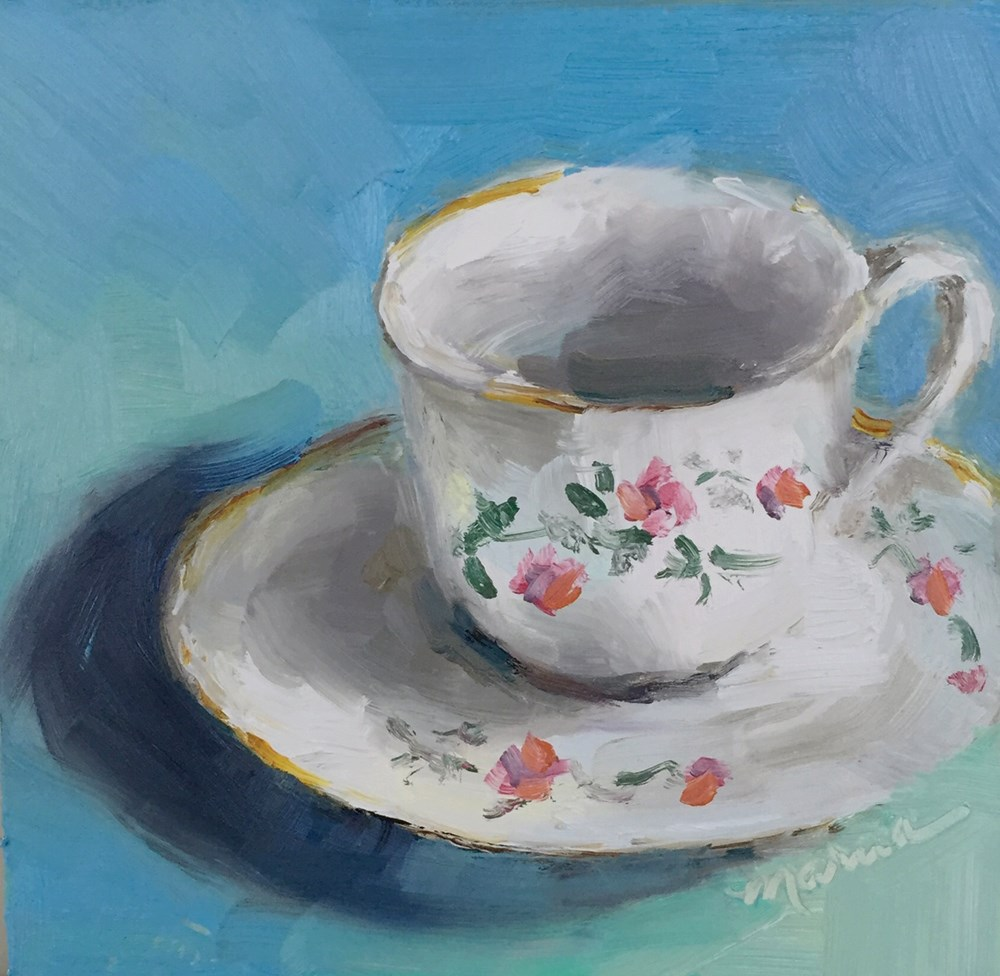 """""""My Prissy Cup of Coffee"""" original fine art by Marcia Hodges"""