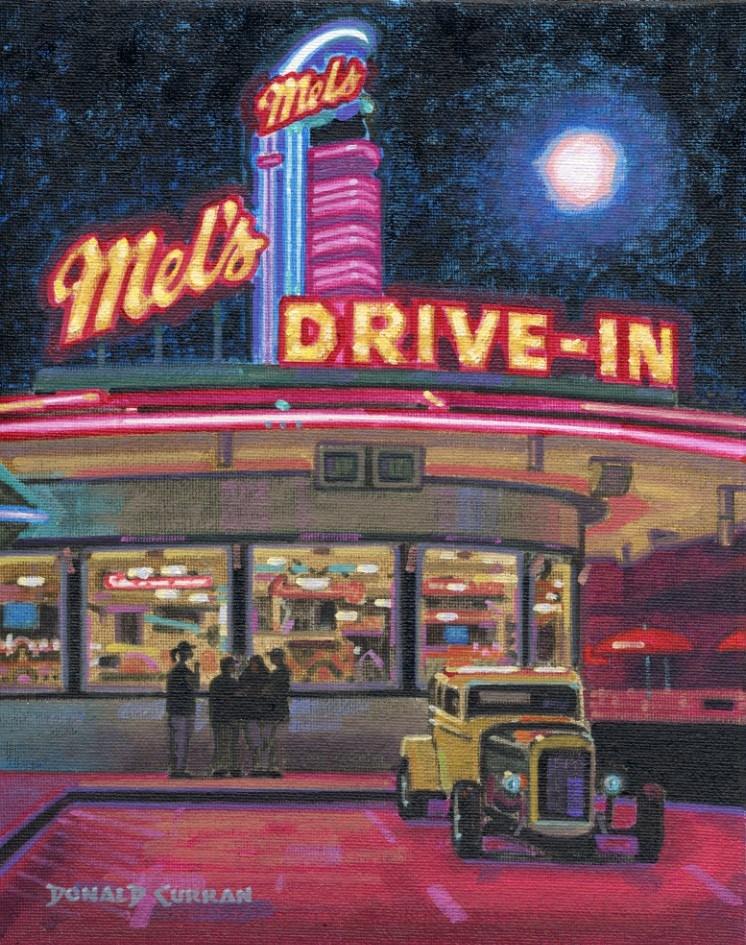 """Mel's Diner"" original fine art by Donald Curran"