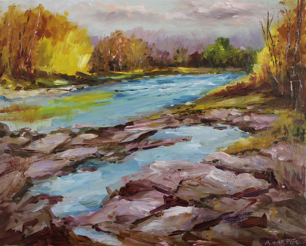 """Original oil painting Sugar Creek Indiana autumn landscape woods painting"" original fine art by Alice Harpel"