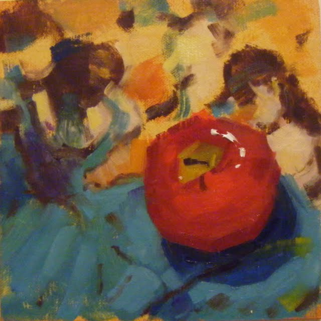 """HOMAGE TO DEGAS WITH RED APPLE"" original fine art by Helen Cooper"
