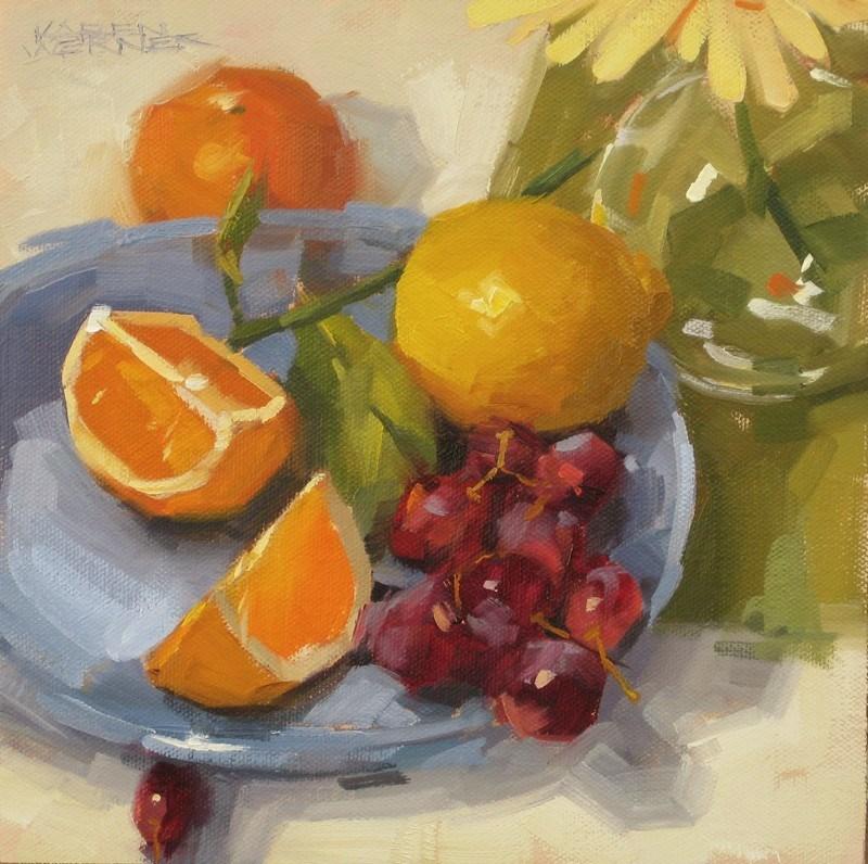 """""""Fruit On Blue"""" original fine art by Karen Werner"""