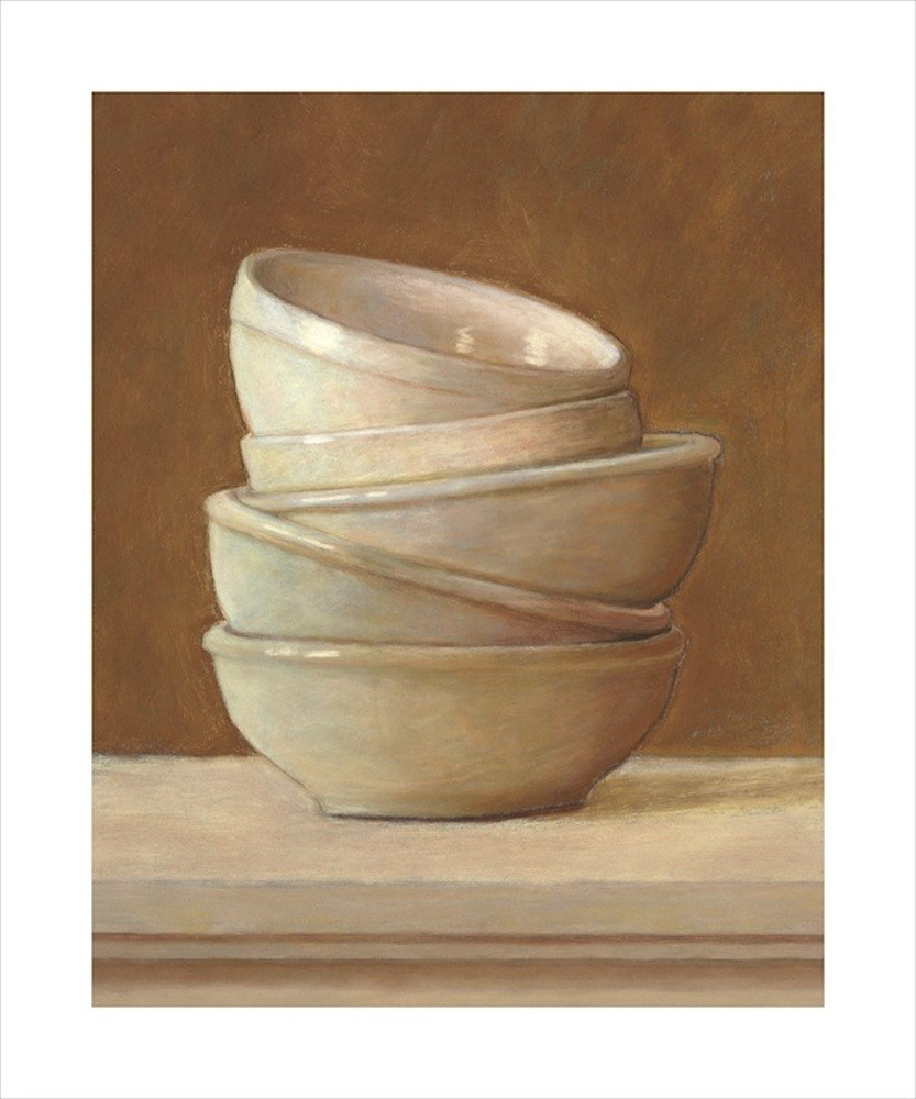 """White Bowls"" original fine art by Susan Fern"