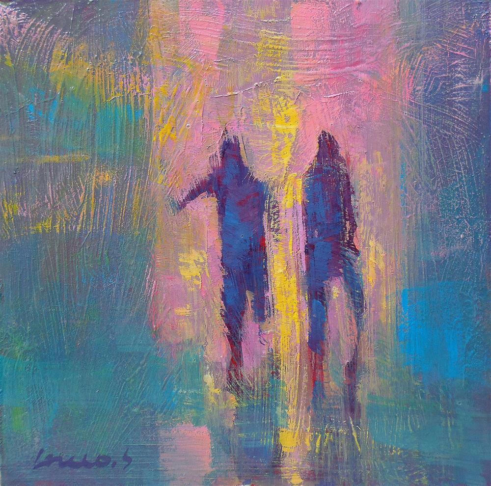 """""""Run in the rain"""" original fine art by salvatore greco"""