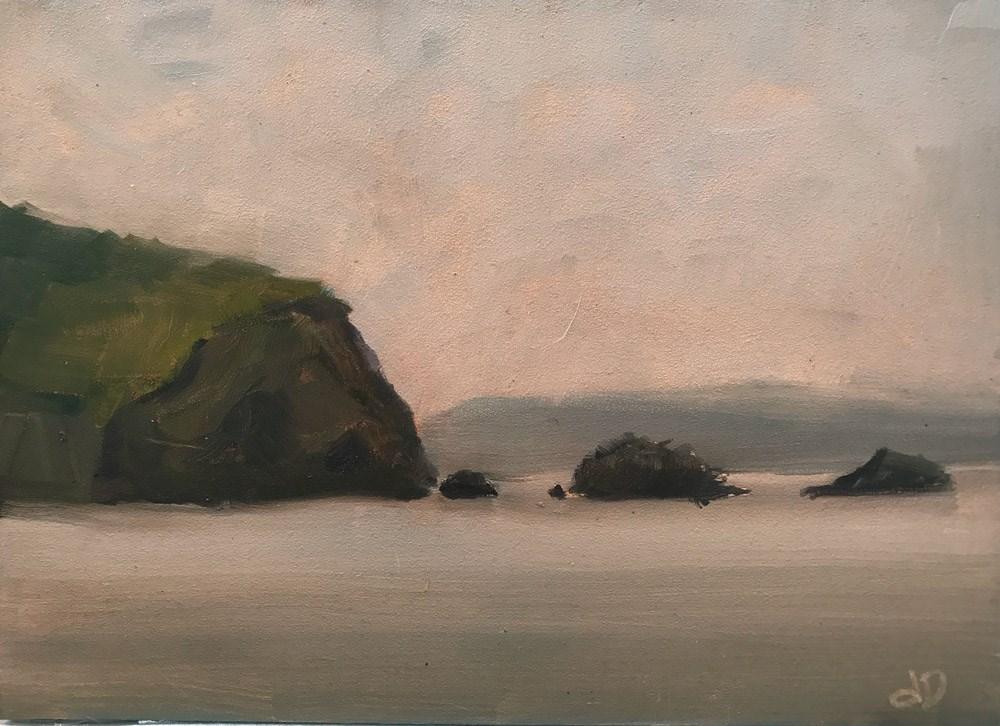 """Grey Day at The Beach"" original fine art by Donna Dumont"