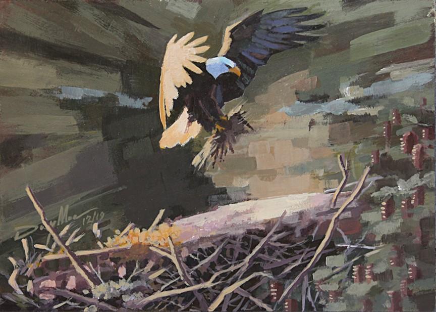 """Liberty Readies Her Nest"" original fine art by Mike Daymon"