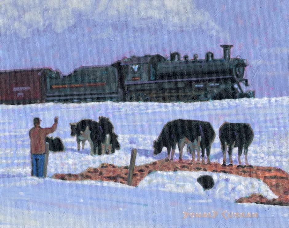 """Winter on the Farm"" original fine art by Donald Curran"