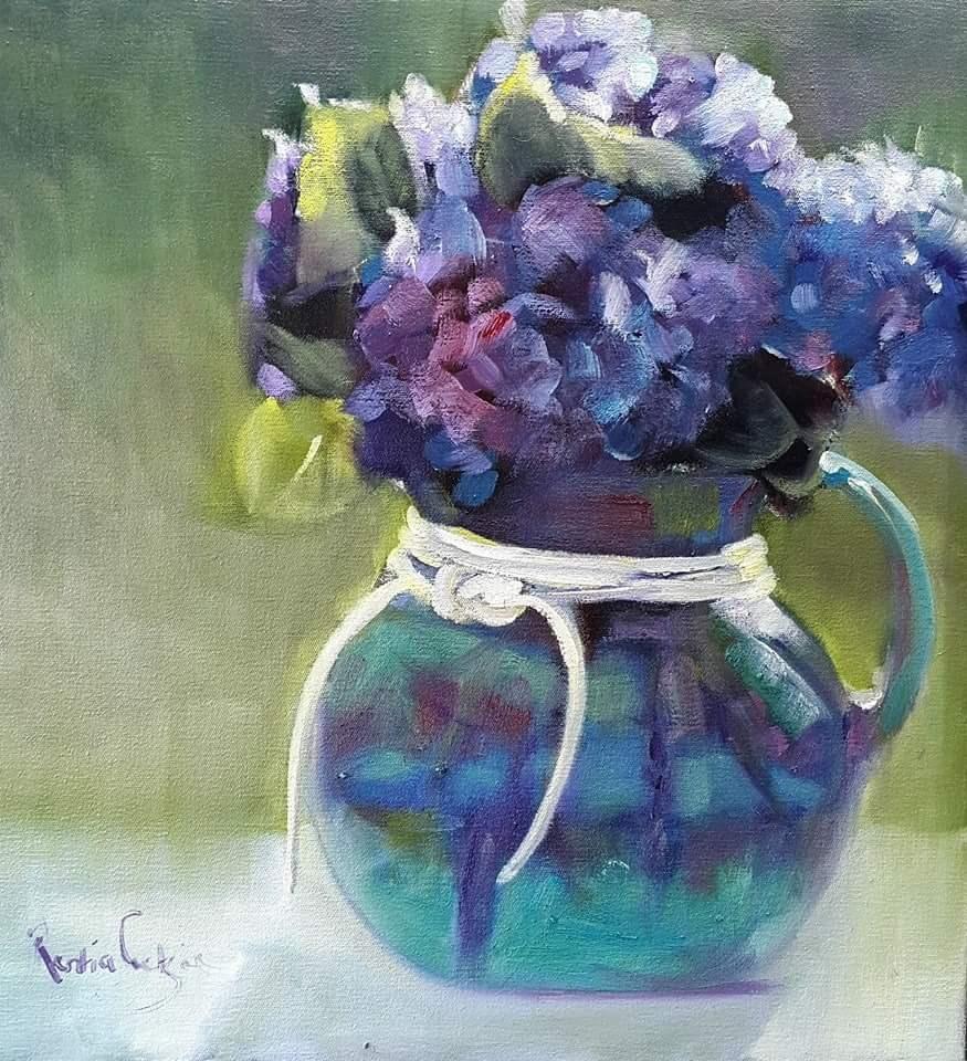 """""""Hydrangeas"""" original fine art by Rentia Coetzee"""
