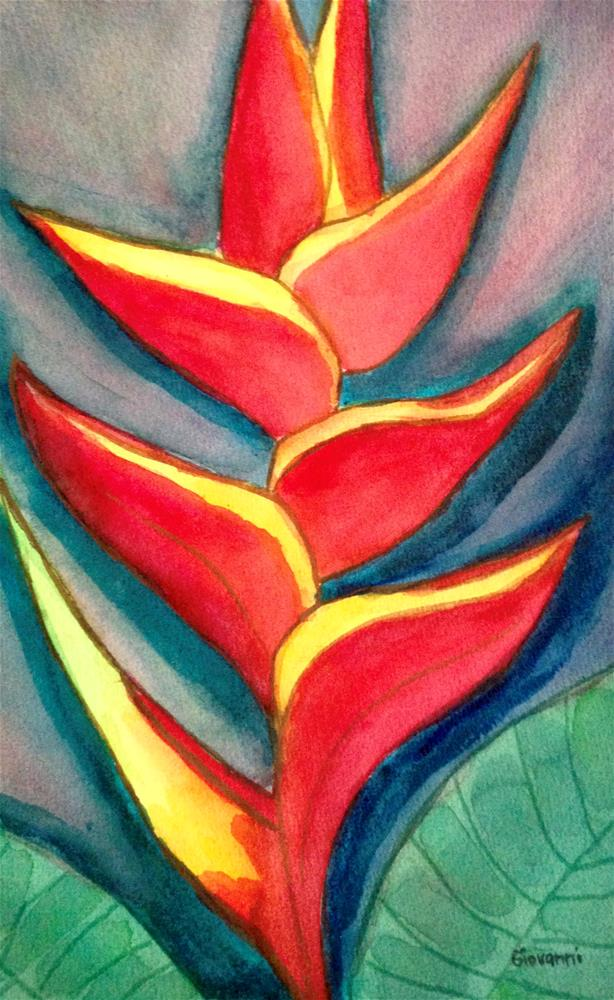 """Bird of Paradise -- Red"" original fine art by Giovanni Antunez"