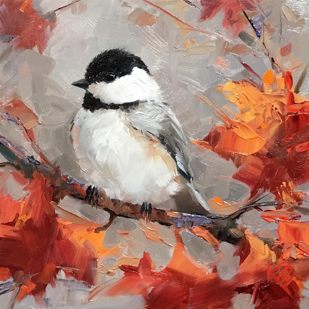 """Autumn Chickadee"" original fine art by Krista Eaton"