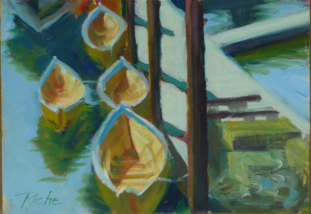 """""""Small Gloucester Dories 5x7"""" original fine art by Mary Pyche"""