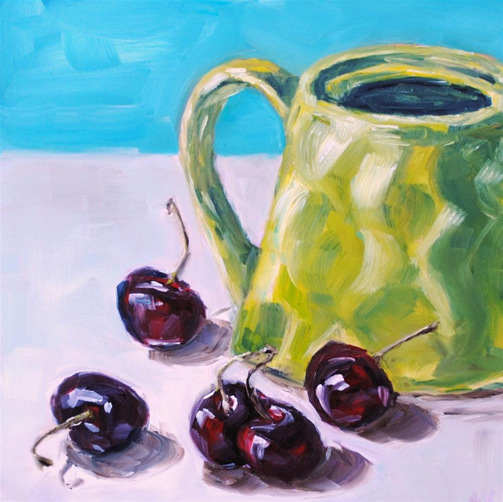 """""""Cherries and the Lime Teapot"""" original fine art by Alison Kolkebeck"""