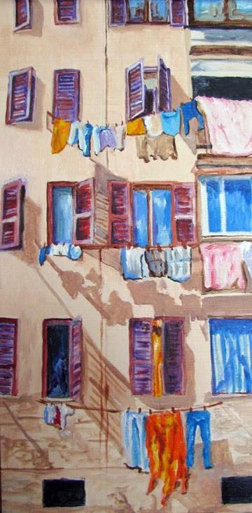 """Laundry Day in Rome"" original fine art by Nan Johnson"