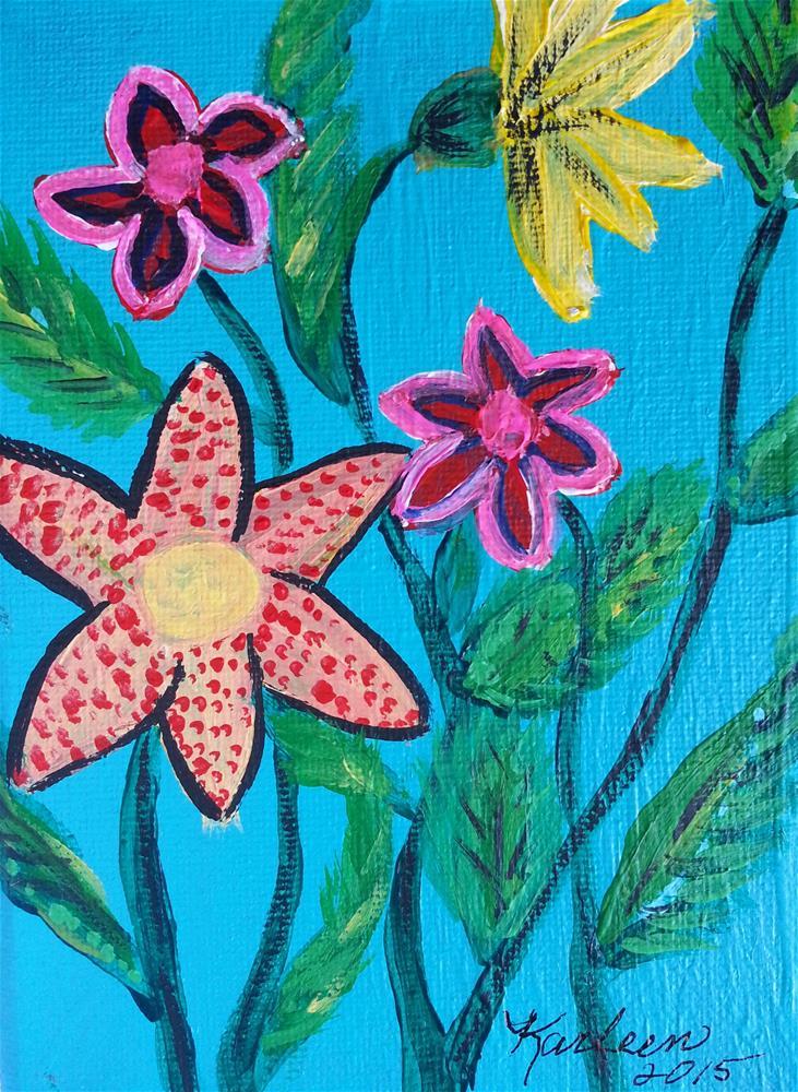 """Flower Garden 2"" original fine art by Karleen Kareem"