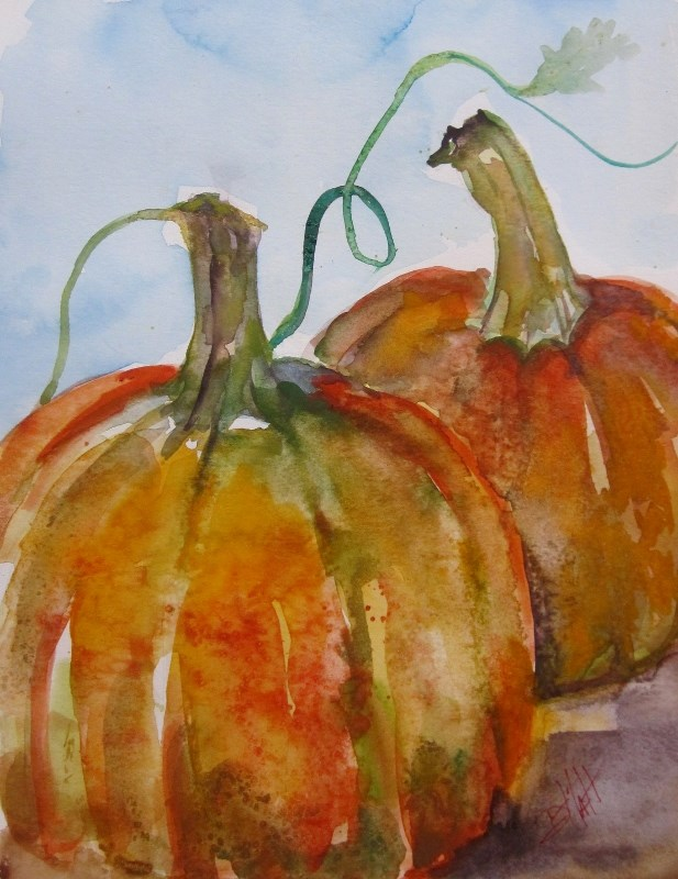 """Pumpkins"" original fine art by Delilah Smith"