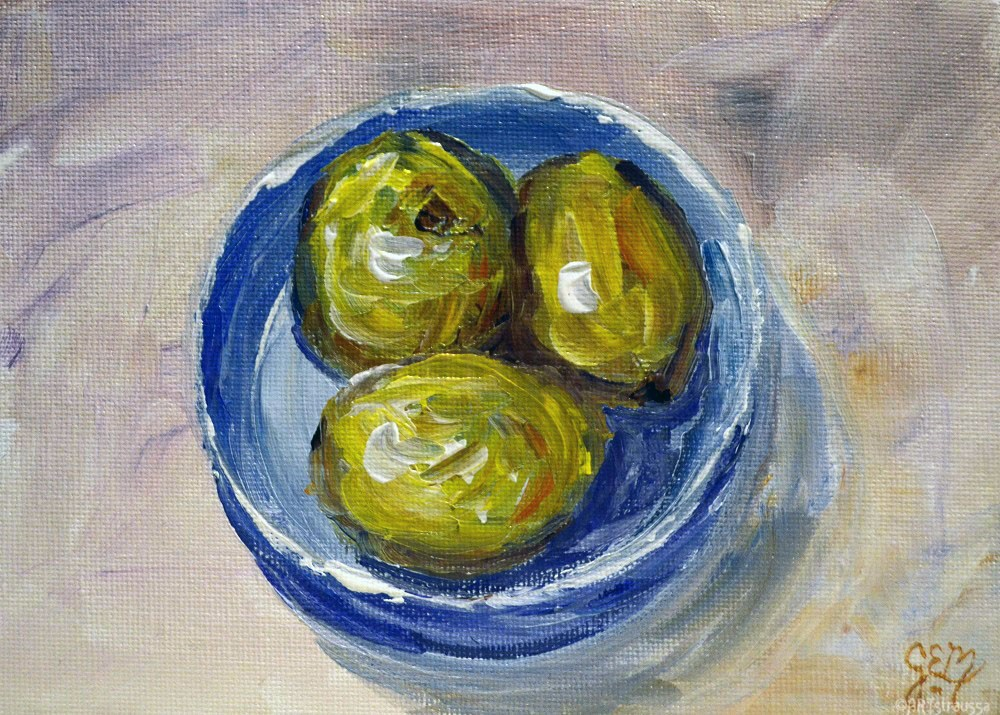 """Lemon Trio"" original fine art by Gloria Ester"