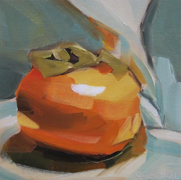 """Persimmon on Cloth"" original fine art by Robin Rosenthal"