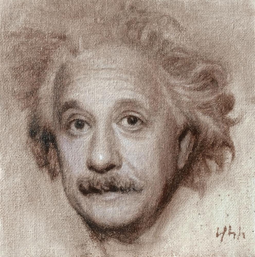 """""""Einstein"""" original fine art by Yuehua He"""