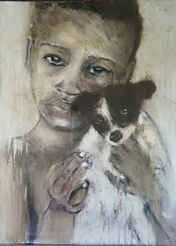 """A Boy with his dog"" original fine art by Rentia Coetzee"