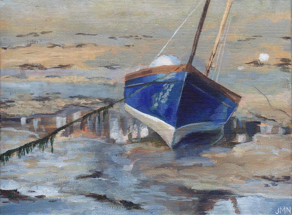"""Boat at Low Tide, St Ives"" original fine art by J M Needham"