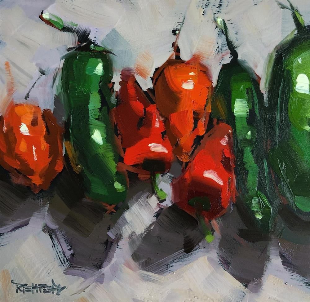 """Random Peppers"" original fine art by Cathleen Rehfeld"
