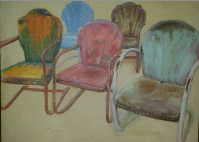 """Vintage Chairs"" original fine art by Brenda Bolts"