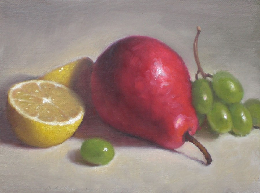 """Red Pear and Lemon"" original fine art by Debra Becks Cooper"