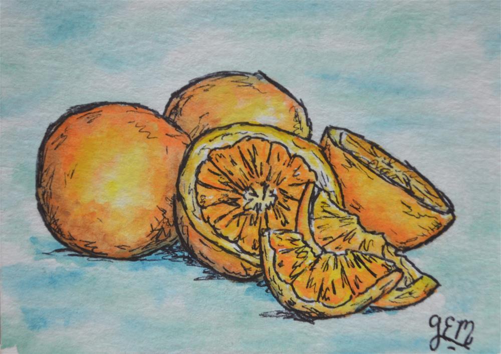 """Orange Watercolor Aceo"" original fine art by Gloria Ester"