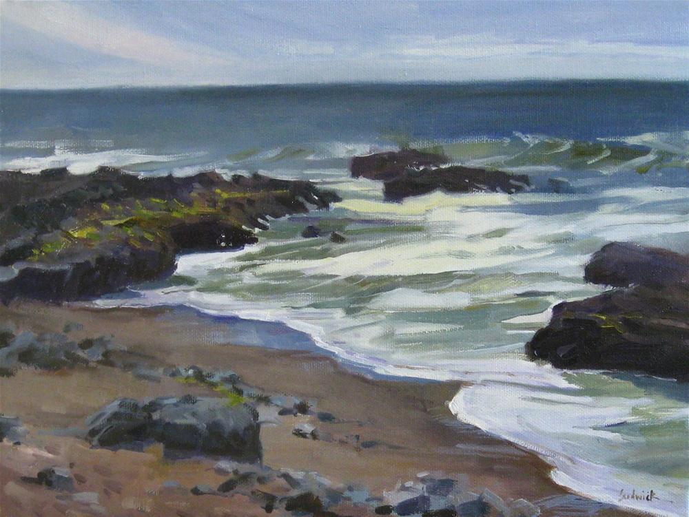 """Rocky Shore Plein Air landscape ocean beach painting of the Oregon Coast"" original fine art by Sarah Sedwick"