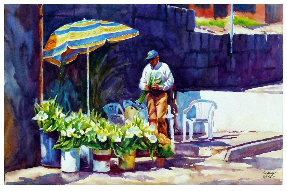 """Selling Flowers"" original fine art by Graham Berry"
