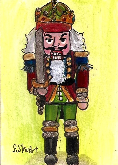 """ACEO Nutcracker Painting King Sword 206 Original Acrylic Art SFA Penny StewArt"" original fine art by Penny Lee StewArt"