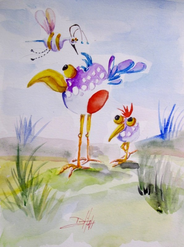 """Bird and Mosquito"" original fine art by Delilah Smith"
