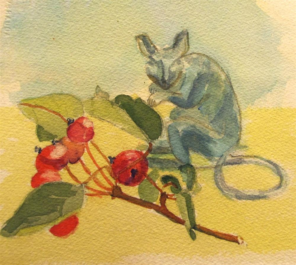 """Mouse and Crabapples"" original fine art by Christine Holzschuh"